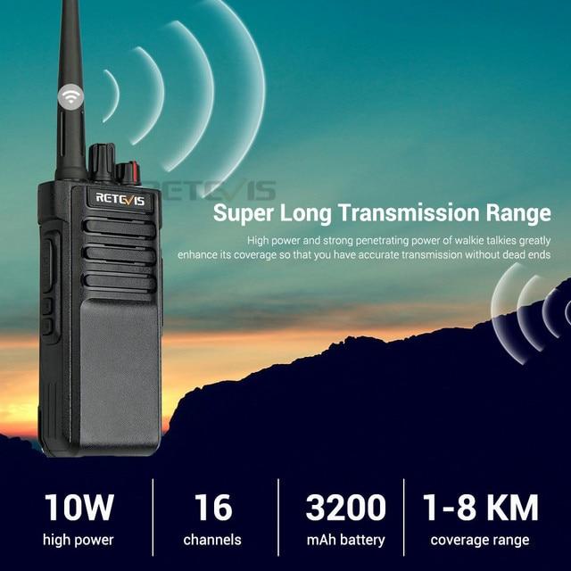 IP67 Waterproof Walkie Talkie RETEVIS RT29 10W UHF (or VHF) VOX Long Range Two-way Radio Station for Factory Farm Warehouse 3KM 4