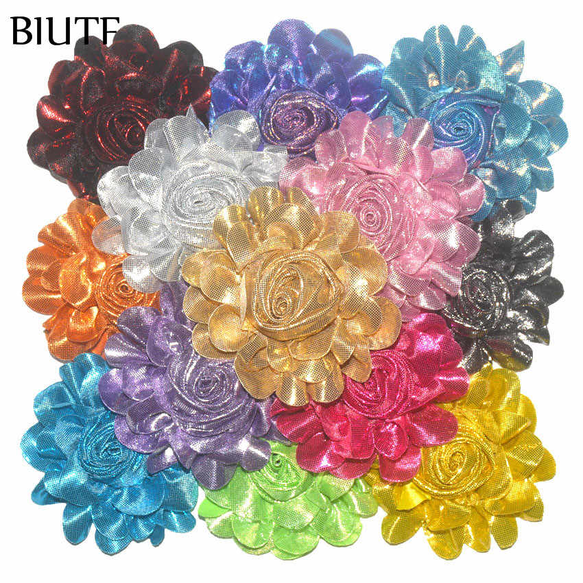 50pcs/lot 3.5'' Artificial Metallic Rolled Chiffon Flower Fashion Boutique Hair Accessories TH262