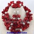 2017 Hecho A Mano de Coral Perlas Africanas Joyería Nigeriano Boda Collar de Coral Rojo Joyería Conjunto Envío Gratis CNR169