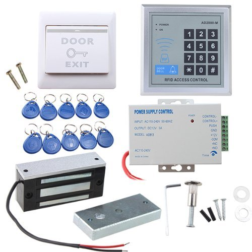 RFID Gate Door Access Control system Kit With 60kg 130LBs Electric Magnetic lock with button 10 key tags 125khz