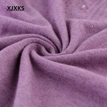XJXKS 2017 new autumn and winter long-sleeved loose big size beading round neck cashmere sweater women sweaters and pullovers