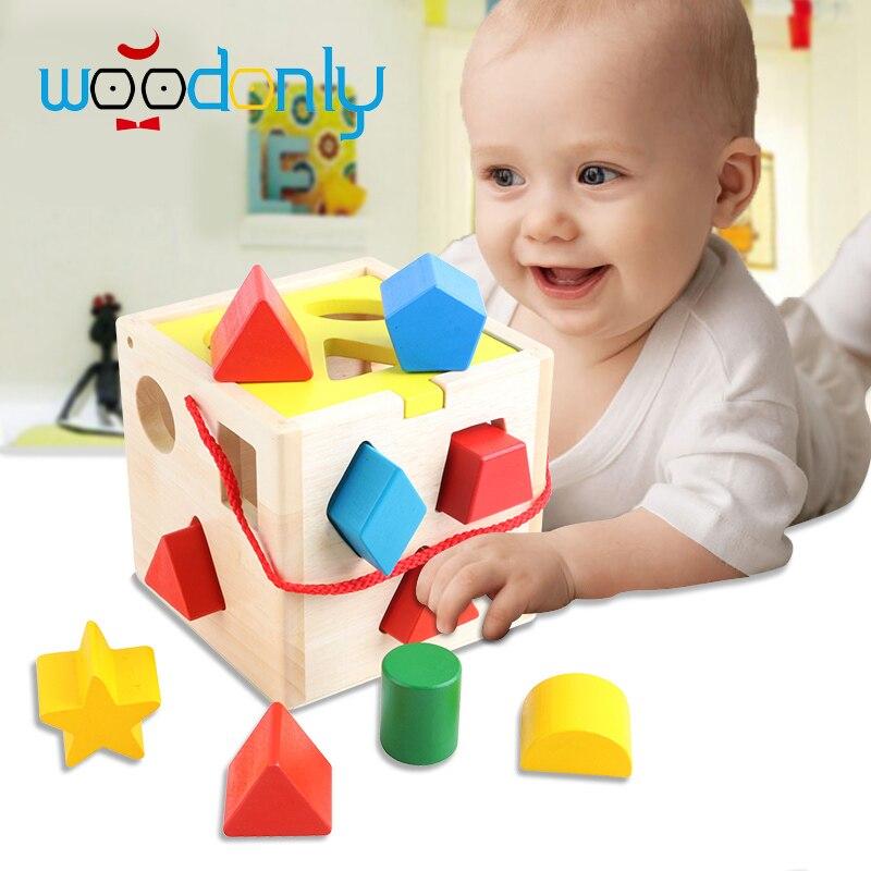 Çocuklar için oyuncaklar Montessori akıllı kutusu şekil eşleme blokları/bebek çocuk eğitim ahşap oyuncaklar çocuk doğum günü hediye