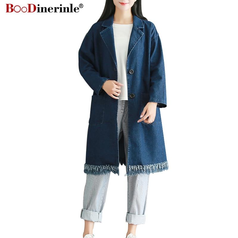 Female Sleeve Women Autumn Trench Pocket New Loose Big Long 2018 Coat Blue Nz080 Dark Tassel Denim Casual Windbreaker Slit Wash PwP6XqB