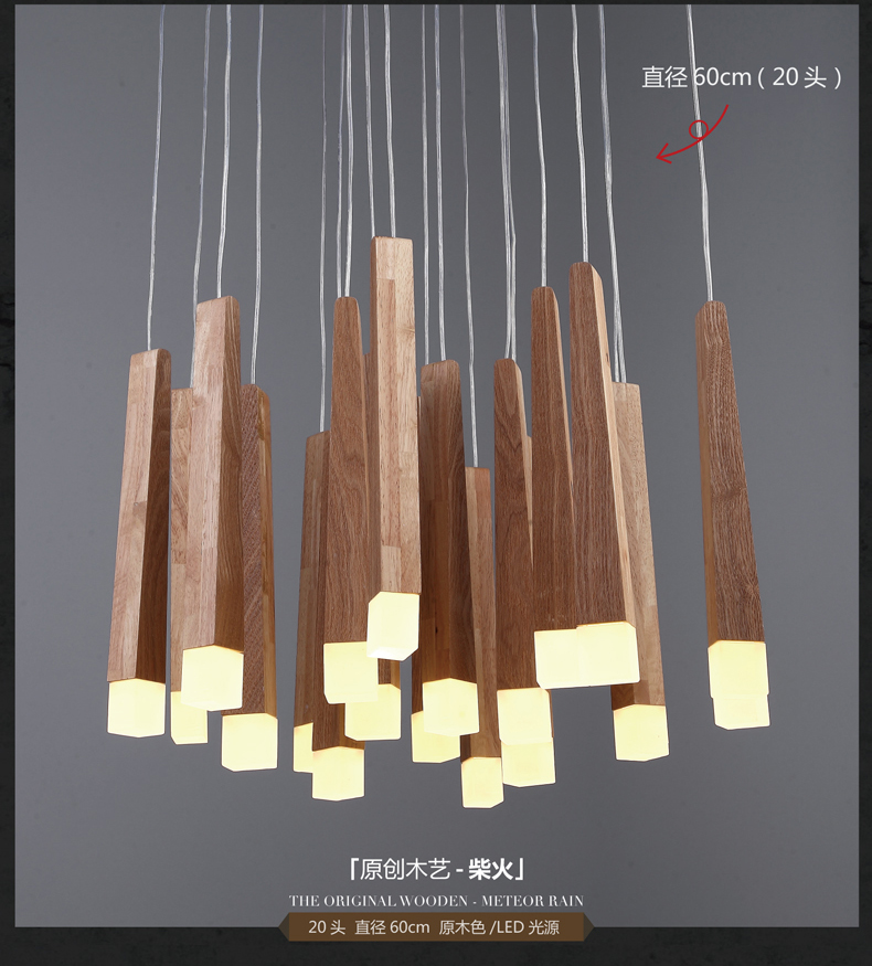 Lampes suspendues en bois de style campagnard américain ont mené des appareils d'éclairage chauds pour la maison