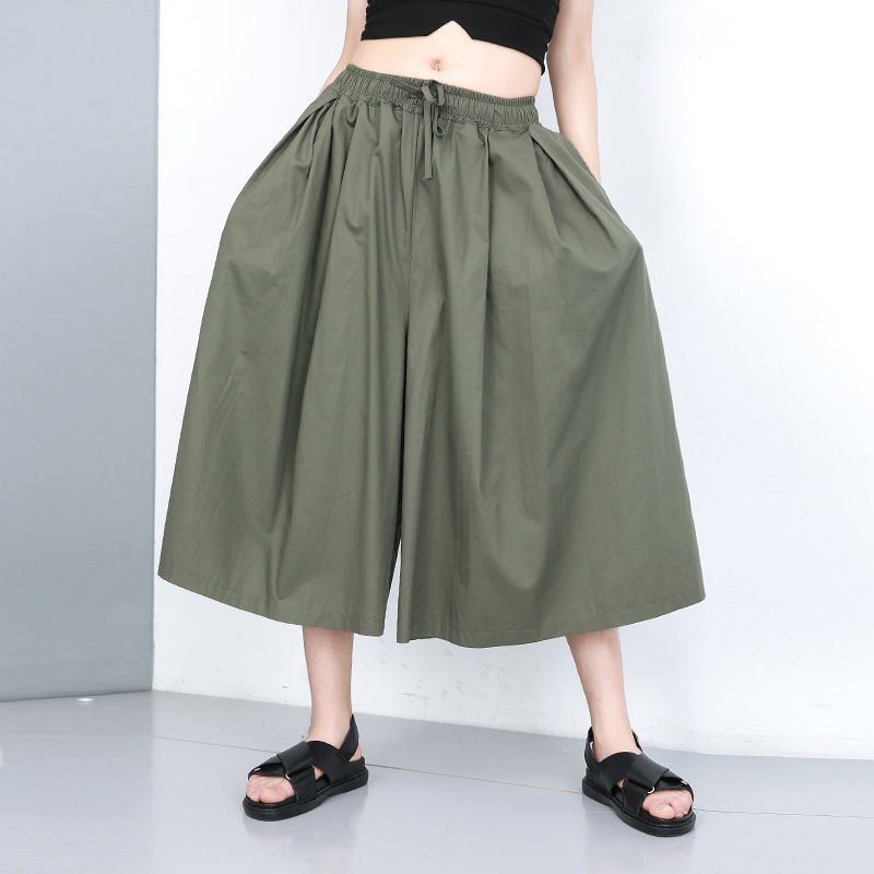 Johnature Solid Colour Elastic Waist   Wide     Leg     Pants   2019 Summer Fashion New Loose Simple Calf-length   Pants   Leisure Women   Pants