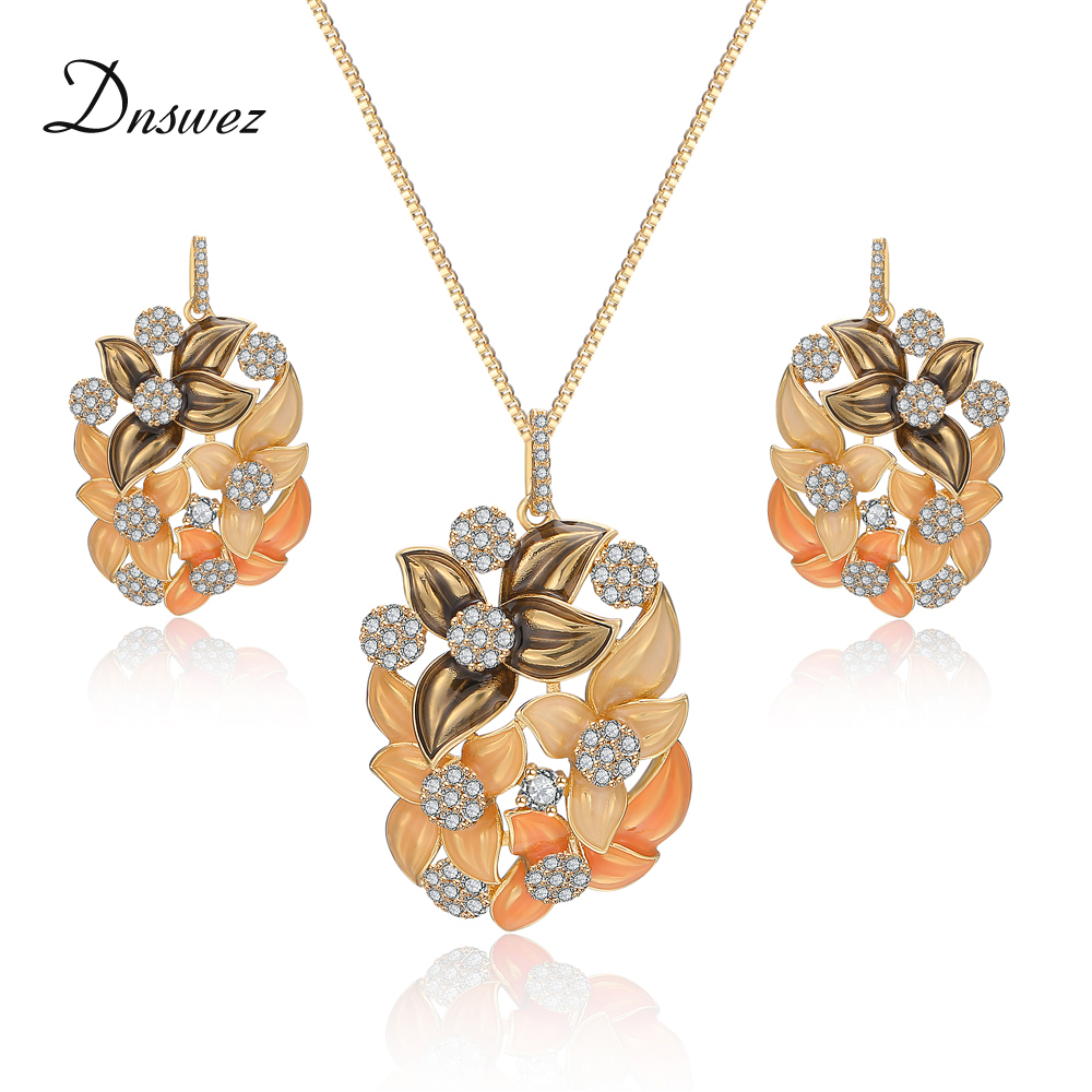 Dnswez Romantic Flower Charm Pendant Necklace and Earrings Sets for Girls Enamel Jewelry Sets for Women New Fashion CN412 CE450 viennois new blue crystal fashion rhinestone pendant earrings ring bracelet and long necklace sets for women jewelry sets