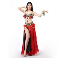 Stage Performance New Women Dance Wear Coins Beaded Bra Belt Skirt Tribal Belly Dance Costume Set Red