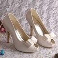 2016 Cream Satin Peep Toe Wedding Shoes for Women Platform 10cm Heels