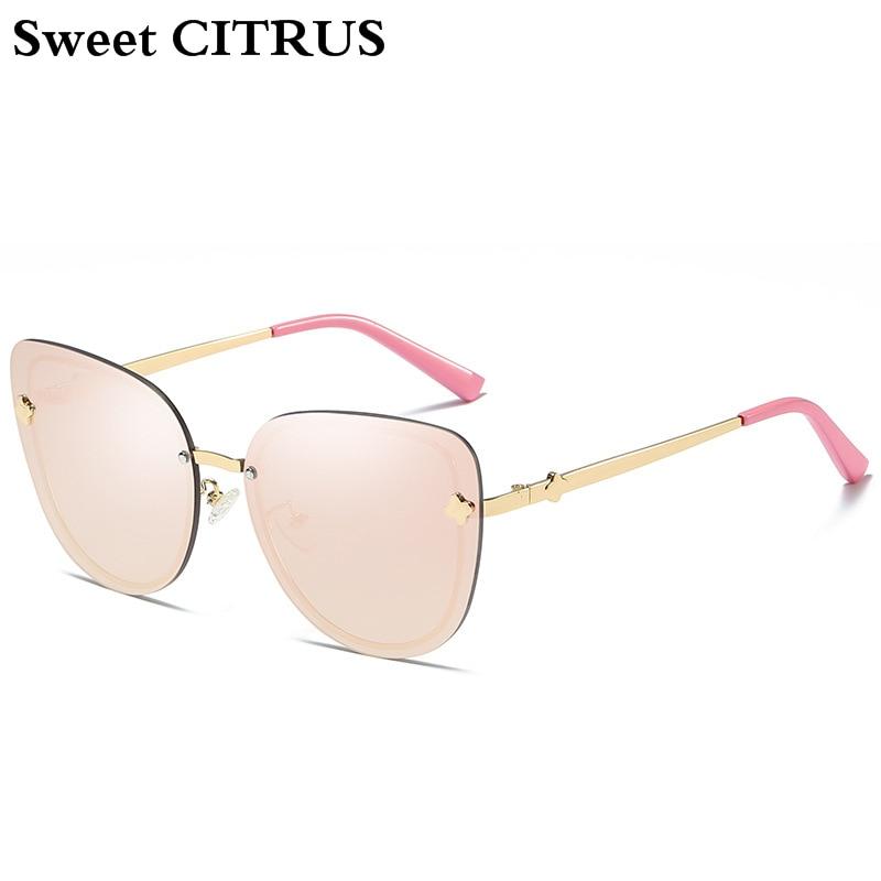 Sweet CITRUS Brand Cat Eye Women Sunglasses Trend Rimless Oversized Fashion Mirror Sun glasses For Ladies oculos de sol feminino 5