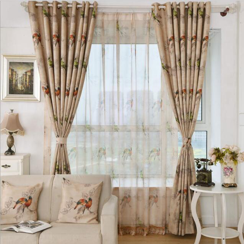 Rustic Style Living Room Divider Curtain Bird Pattern Brown Shade Cloth Sheer Tulle Curtains Customize Bedroom
