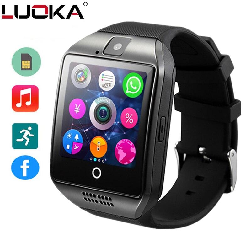Bluetooth Smart Uhr Männer Q18 Mit Touchscreen Große Batterie Unterstützung TF Sim Karte Kamera für HUAWEI xiaomi Android Telefon PK A1 Y1