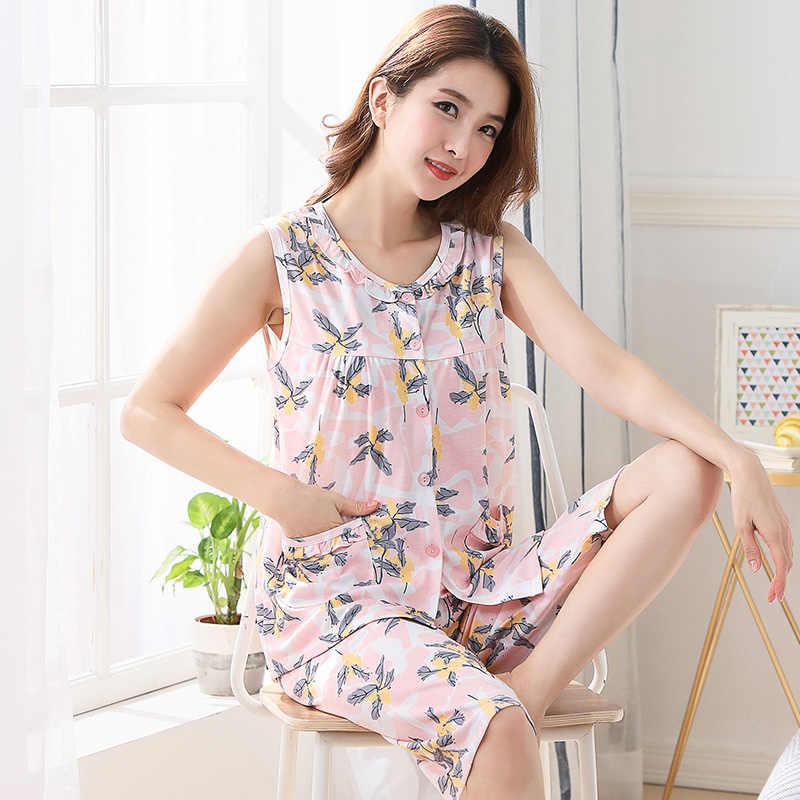 J & Q Новые пижамы для женщин летние без рукавов до середины икры Длина брюки 100% хлопок плюс размер Цветочная Пижама Femme Хлопок розовый пижамный комплект