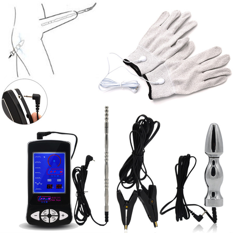 Electro Shock Kit Anal Plug Penis Plug Nipple Clamps Gloves Sex Toys For Men Women Adult Games Electric Shock Tools For Couples hot electric shock medical themed toys kit penis rings massage pad anal butt vagina plug electro shock sex toys for men couples