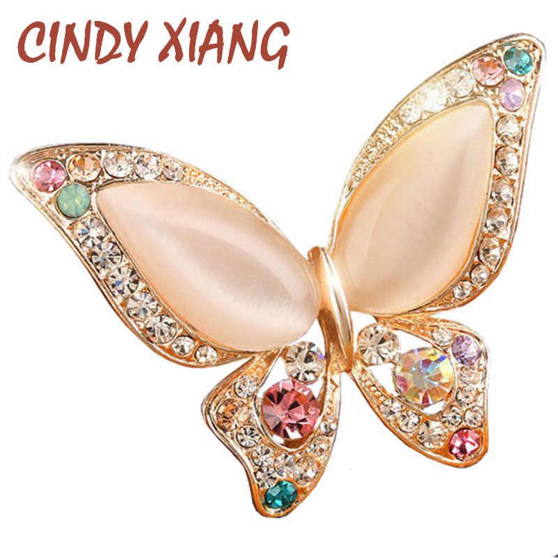 CINDY XIANG 오팔 나비 브로치 여성용 라인 석 브로치 패션 보석류 웨딩 쥬얼리 3 색 이용 가능 무연