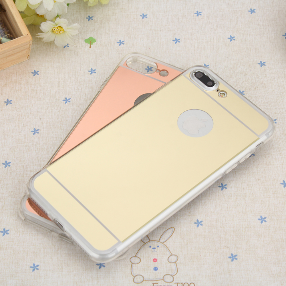 i7 Gold Mirror Electroplating Soft Clear TPU Case cover For Iphone 7 7Plus Mobile Phone Cover Protective Back Skin Cases