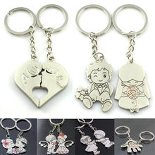 New Arrival 1 Pair/Set Women Couple Key Ring Cartoon Lover Keychain Fashion Valentines Gift 9 Style(China)