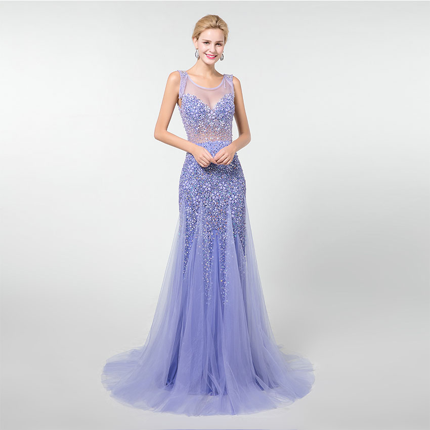 YQLNNE 2019 Blue Crystals Long   Prom     Dresses   Mermaid Beading Tulle Vestido de Festa