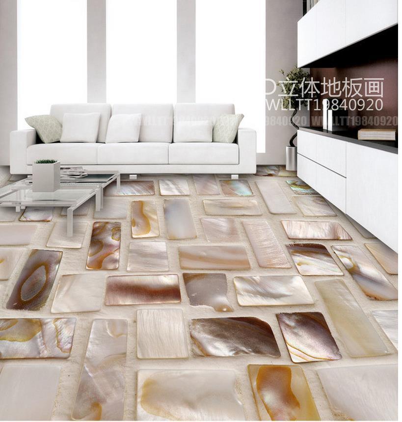 Home Decoration waterproof wall murals Colorful shell mosaic art flooring pvc floor wallpaper european photo vinyl flooring 3d stereoscopic couple dolphin ocean pvc wallpaper murals waterproof beach shell wallpapers
