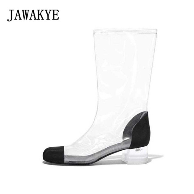 New Fashion PVC Transparent Shoes Ankle Boots Women Round Toe Patchwork  Black White Mid-Calf square Clear heels Long Boots Shoes 03799753aada