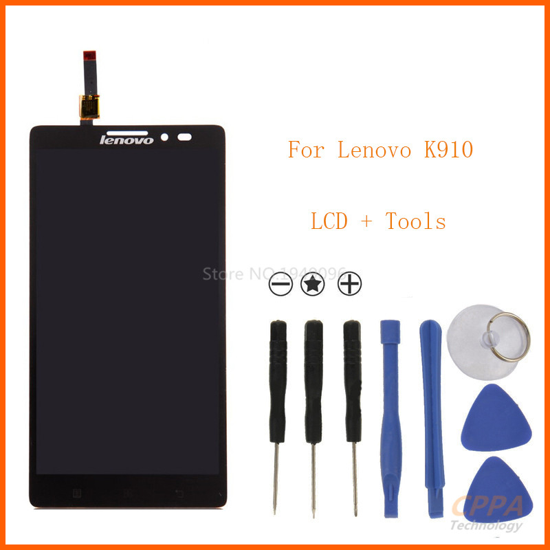 Smartphone High quality For Lenovo VIBE Z K910 LCD Screen with Touch Screen Digitizer Assembly Black + tools аксессуар чехол lenovo k10 vibe c2 k10a40 zibelino classico black zcl len k10a40 blk