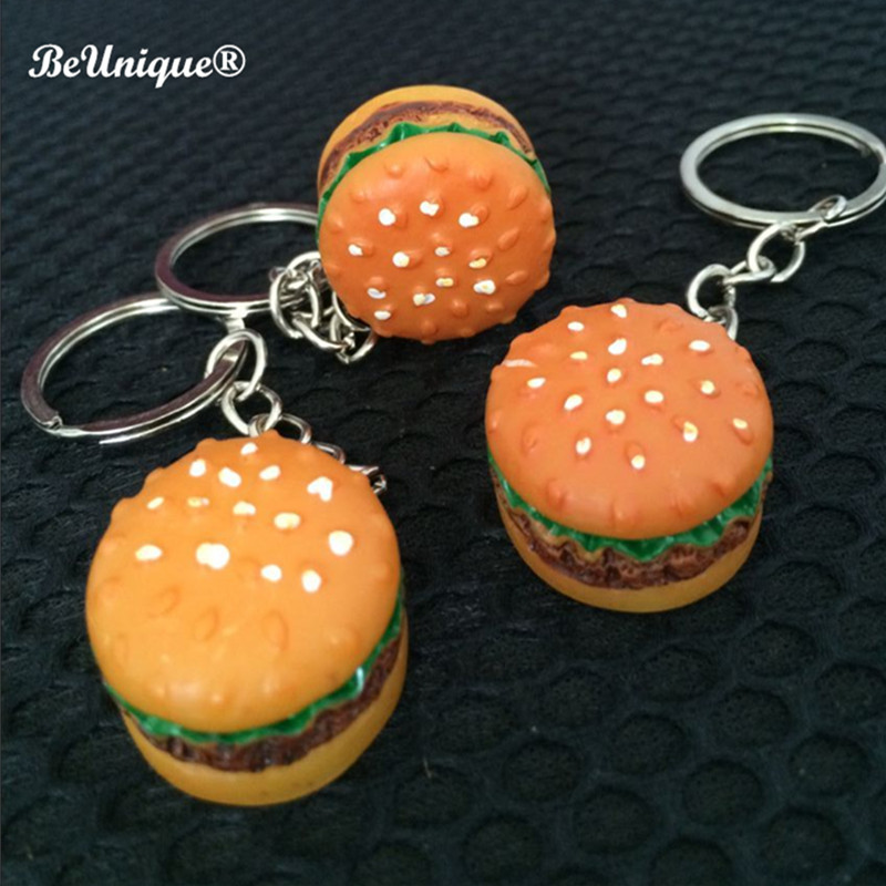 New Hamburger Food Shaped Pendent Keychain Resin Keyring Best Gift For Kids