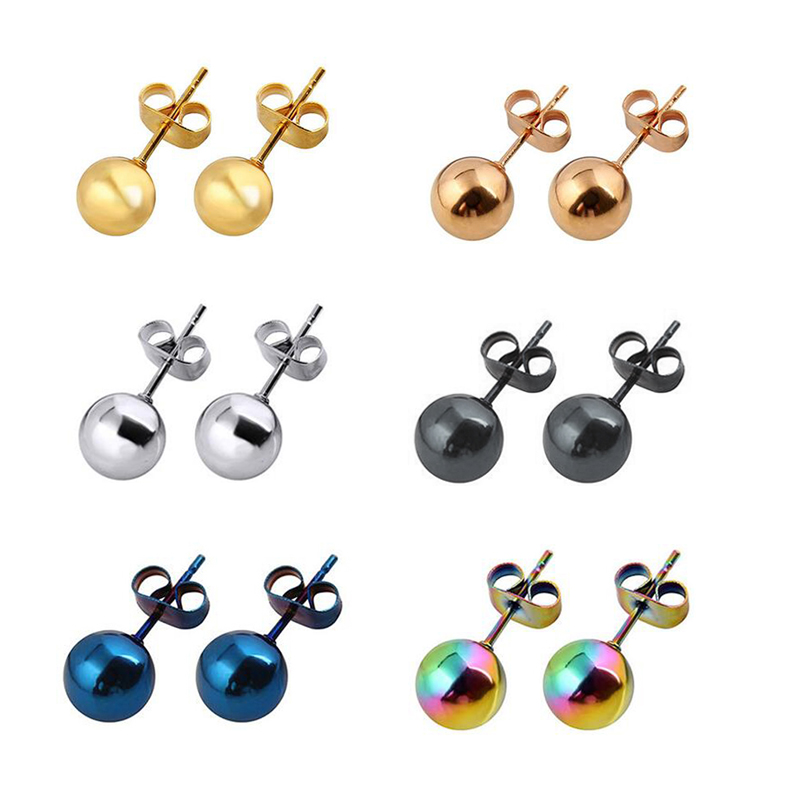 4 PCS Surgic Small Circle Earrings Ball Stud Earrings Classic Women 39 s Round Ball Metal Earrings Piercing Fake Taper For Women in Stud Earrings from Jewelry amp Accessories