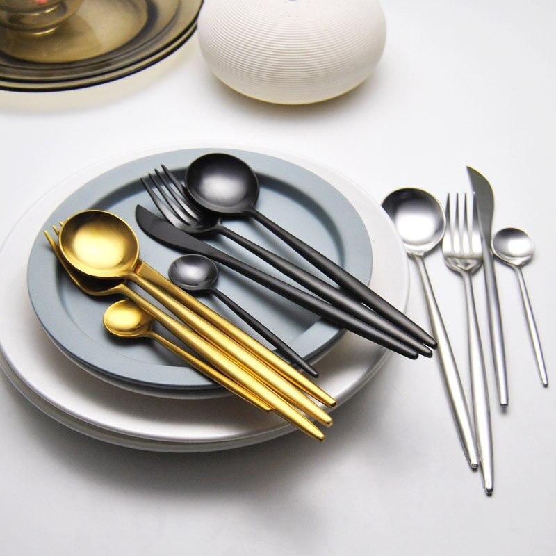 24Pcs/set Dinnerware Set 304 Stainless Steel Black Gold Cutlery Set  Knife Fork Set Flatware Tableware Silverware Drop Shipping 2