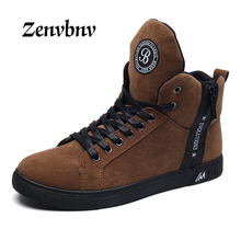 ZENVBNV 2017 Hot Men Casula Shoes Fashion Sping/Autumn Men Shoes Lace up Footwear For Man New High Top Canvas Shoes Male 44 size