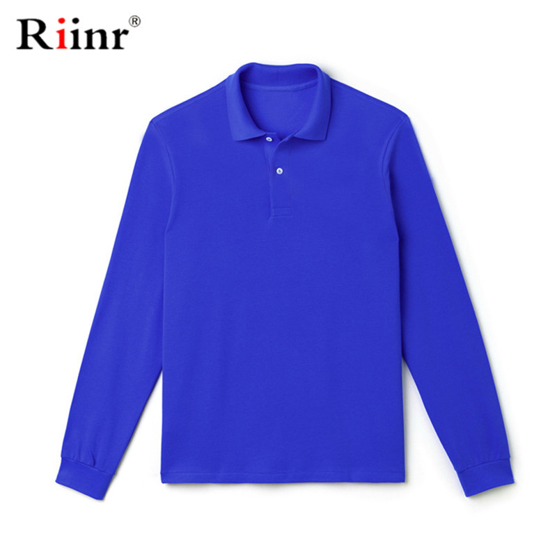 Riinr Brand New Men's Polo Shirt High Quality Men Cotton Long Sleeve Shirt Brands Jerseys Summer Mens Polo Shirts Solid Color