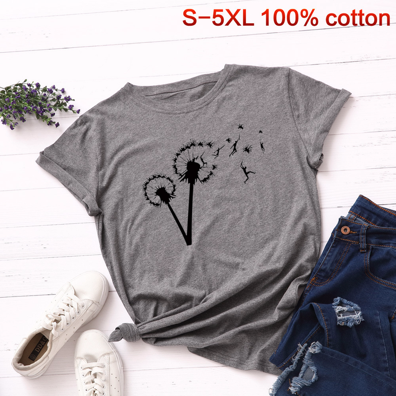 Mais tamanho S-5XL camiseta dandelion livre voar pessoas impressão tshirt feminino algodão o pescoço manga curta verão camisetas casuais
