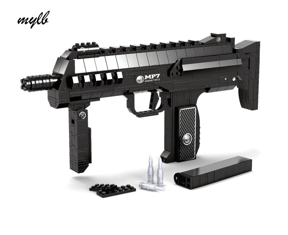 mylb 508pcs MP7 Submachine Assault GUN Weapon SWAT Arms Model 1:1 3D DIY Building Blocks Bricks Children kIDS Toy Gift