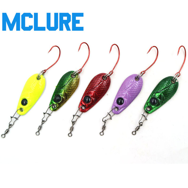 2pcs lot pesca micro mini trout spoon lures for Micro fishing lures