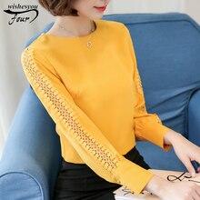 2017 new women top chiffon blouse plus size O-neck chiffon Long sleeves women clothes loose with shirt women shirt  821F 55
