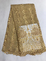 Fashion Gold African French Lace Fabric High Quality African Tulle Lace Fabric For Wedding Beaded And
