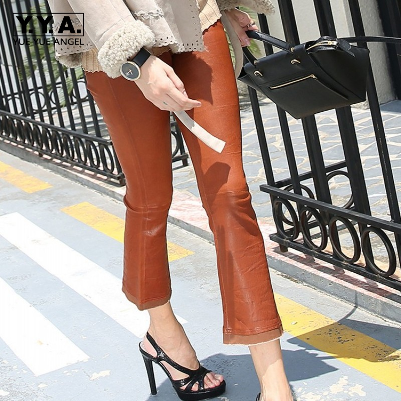Women Ankle Length Boot Cut Flare Pants Tassel Luxury Goat Genuine Leather Pants Female Slim Fit Wide Leg Pants Casual Trousers