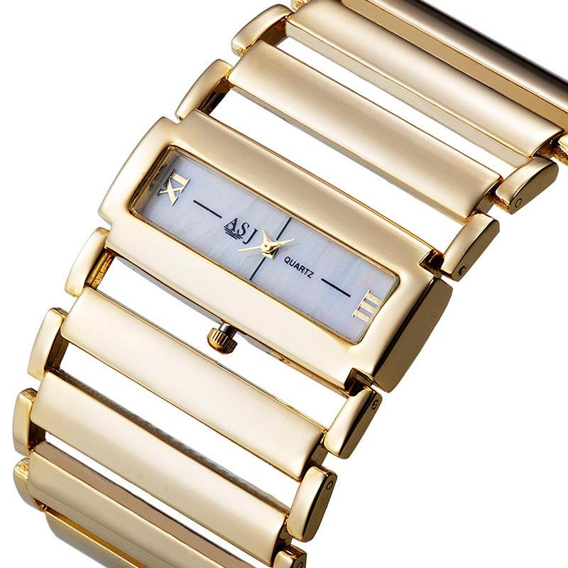 Högkvalitativ 2018 New Fashion Women Dress Klockor Ladies Gold Watch Stainless Stell Chain Band Armbandsur, Dropshipping