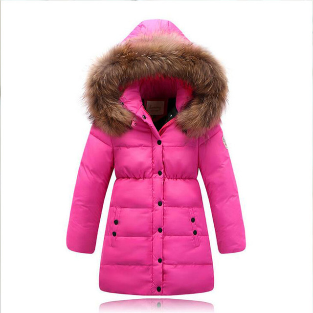2016 girls winter hooded thickening coat dids long sections windproof outerwear for girl New children fashion warm down