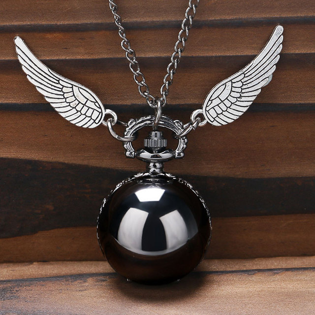 Steampunk Charm Black Round Ball Quartz Pocket Watch Women Men Necklace Pendant