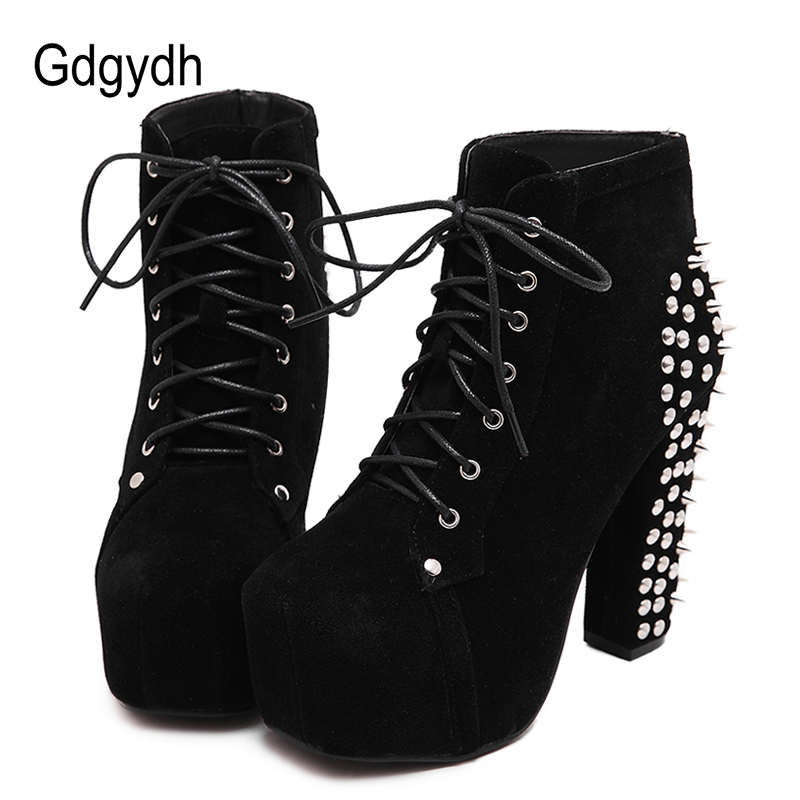 Gdgydh Fashion Rivet Ankle Boots High Heels Women Spring Autumn Lacing Sexy Party Shoes Ladies Motorcycle Boots Big Size 41 high quality genuine leather women shoes spring and autumn high heels women boots hollow out lace ladies fashion boots
