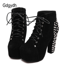Gdgydh Fashion Rivet Ankle Boots High Heels Women Spring Autumn Lacing Sexy Party Shoes Ladies Motorcycle Boots Big Size 41
