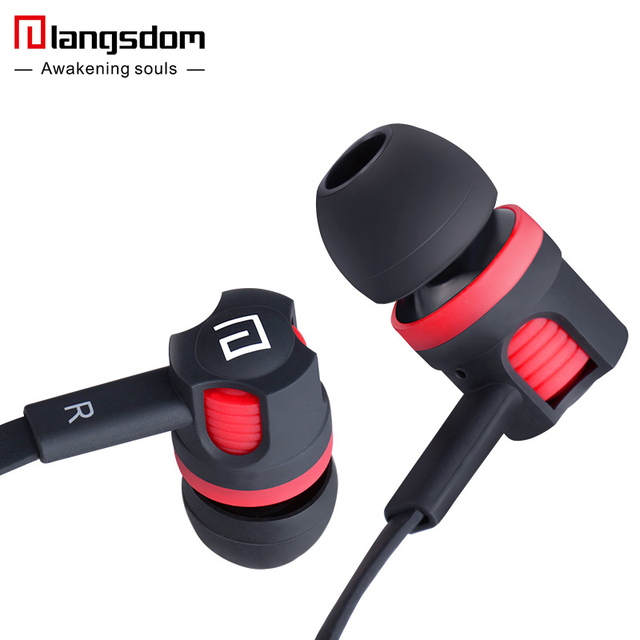 with Microphone Earphones for Phone MP3  Official Langsdom JM26 Bass Earphone 3.5mm In-ear Headset