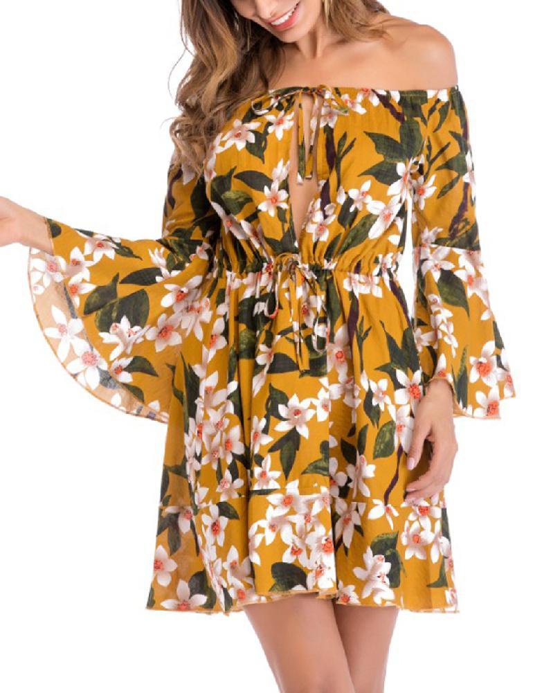 Yfashion Women Fashion Casual Off Shoulder Dress Charming Thin Waist Dress in Dresses from Women 39 s Clothing