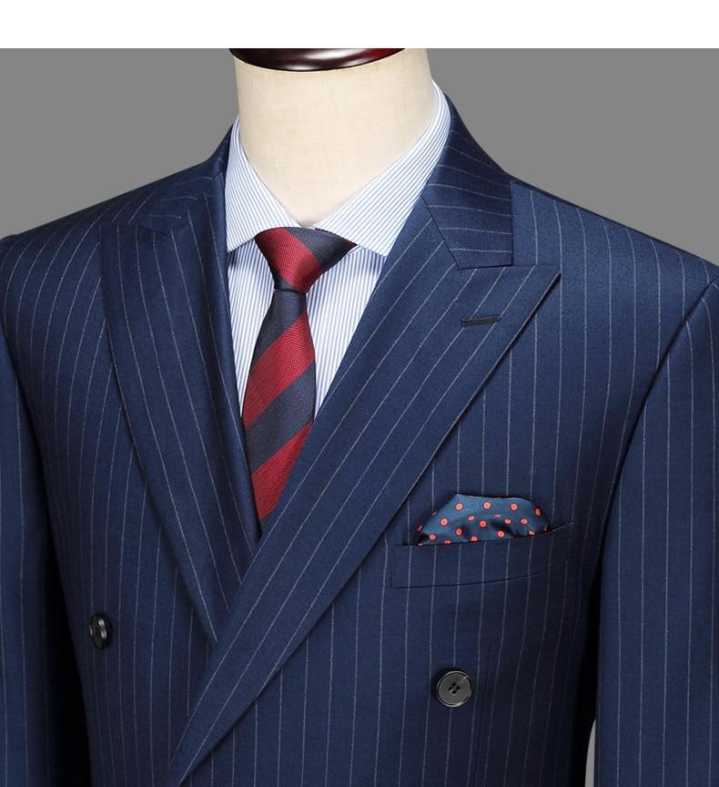 6db8f08d6c58d BIG SALE] 100% wool double breasted men suit deep blue striped ...