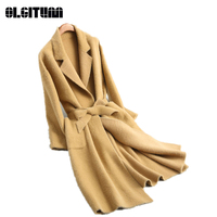 New 2018 European and American Fashion Knitted Water Velvet Long Sleeved Collar Solid Color Soat Women Coat