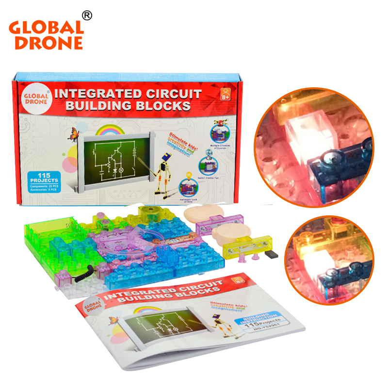 Global Drone 115 projects snap circuits smart electronic kit integrated circuit building blocks educational fun kids toys global global adv workbook
