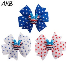AHB 4th of July 3 Hair Bows for Girls Barrettes Hairpins with Cartoon Mouse Independence Day Party Kids Accessories