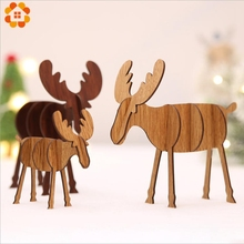 1PCS 2 Sizes Christmas Wooden Deer Pendants Ornaments DIY Xmas Tree Kid Gift For Party Decoration