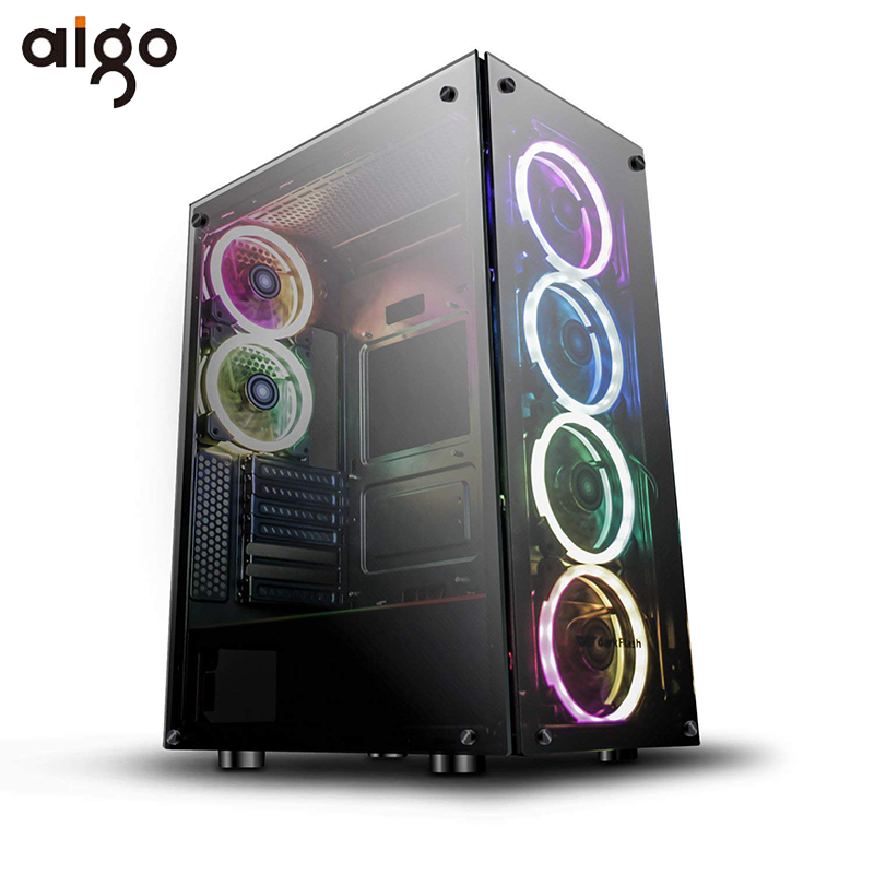 Aigo Phantom Computer Gaming Case ATX Desktop Computer Game Case Chassis Tempered Glass Windows With 6pcs 120mm DR12 RGB Fans