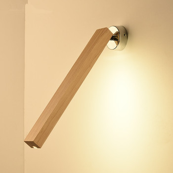 Creative Wall Lamp 220V Modern Simple LED Bedroom Bedside Lamps Nordic Wooden hotel reading Light Long Wood Wall sconce