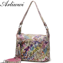 Arliwwi 100% Real Leather Functional Roomy Bags Women Genuine Leather Peacock Pattern Coating Colorful Handbags New GL02